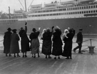 vintage photo departing ship